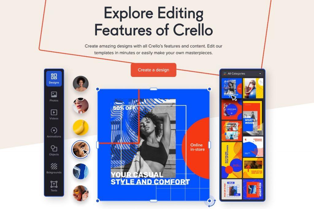 Crello editing features