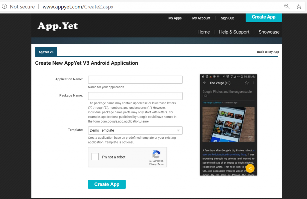 Create new AppYet Android app