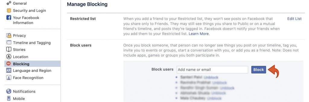 Facebook blocking add name or email