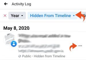 Facebook hidden from timeline