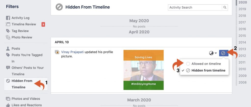 Facebook > hidden from timeline > allowed on timeline - unhide Facebook post