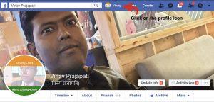 Facebook- click on the profile icon