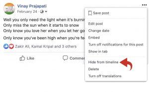 Facebook post - hide from timeline