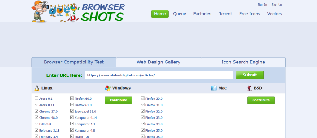 Browsershots – Identify Cross-Browser Issues