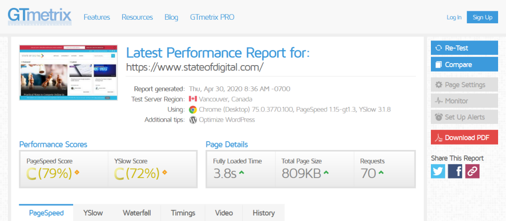 GTmetrix – Test Page Load Time