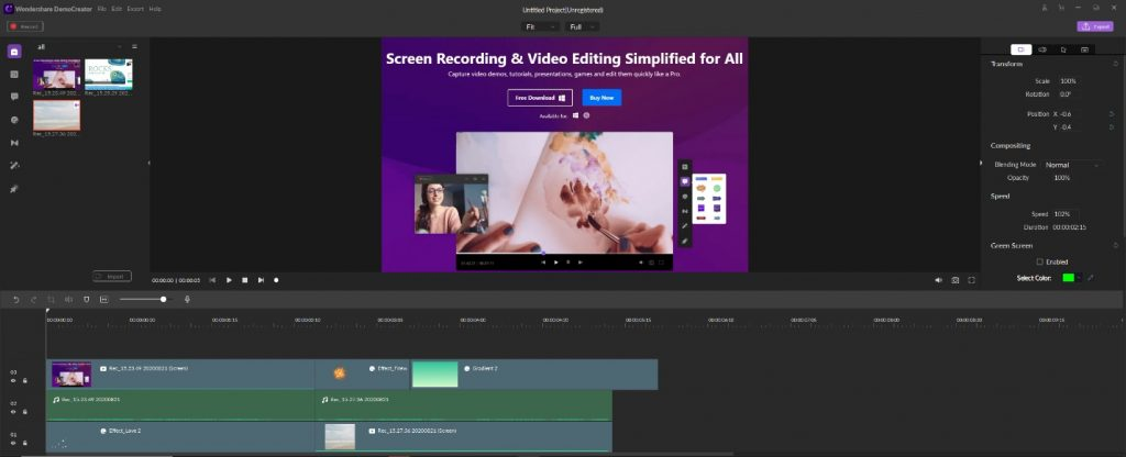 Wondershare DemoCreator screen recording video editing