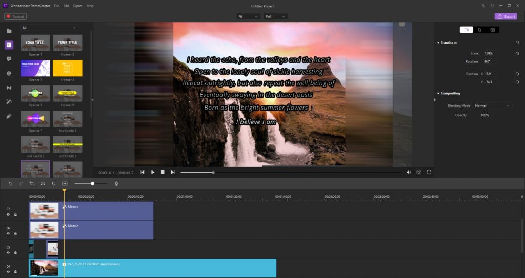 Wondershare DemoCreator video editing