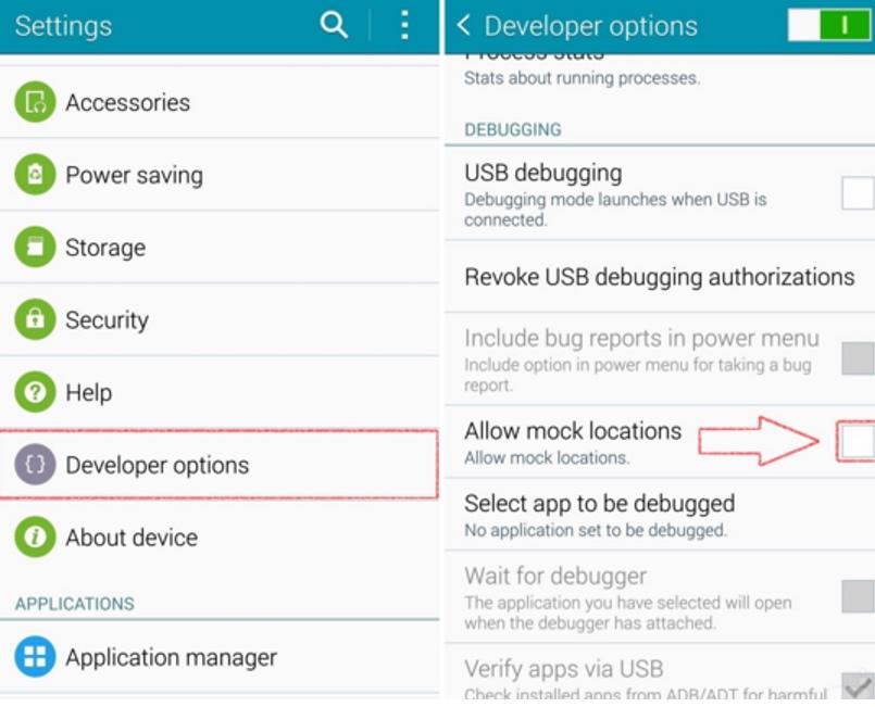 Fake GPS GO Location Spoofer Android developer mock location
