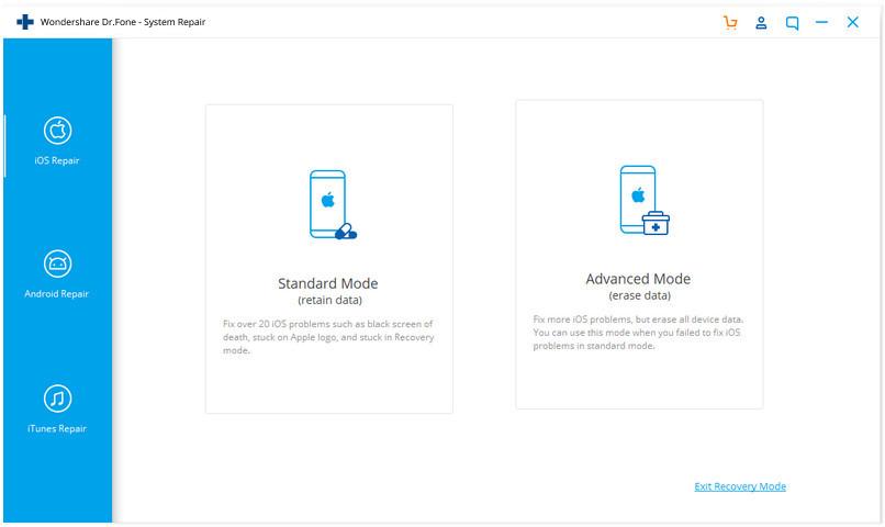 Wondershare Dr.Fone iOS system repair 01