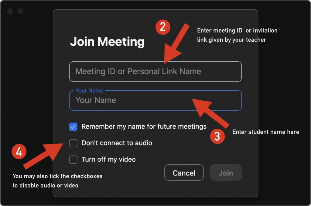 Zoom join a meeting options