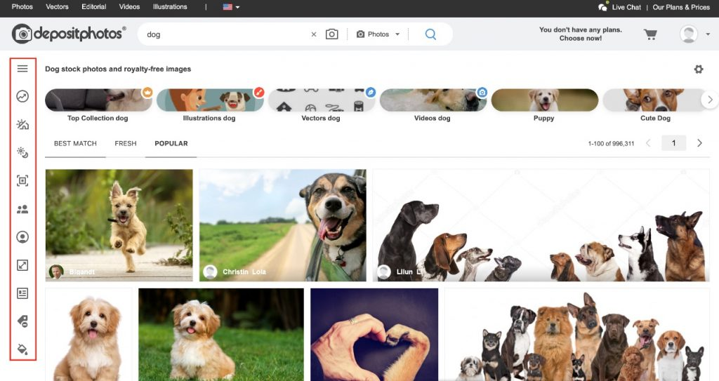 Apply the Depositphotos search filters