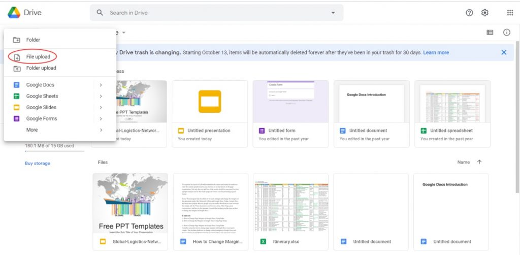 Google Drive New File upload