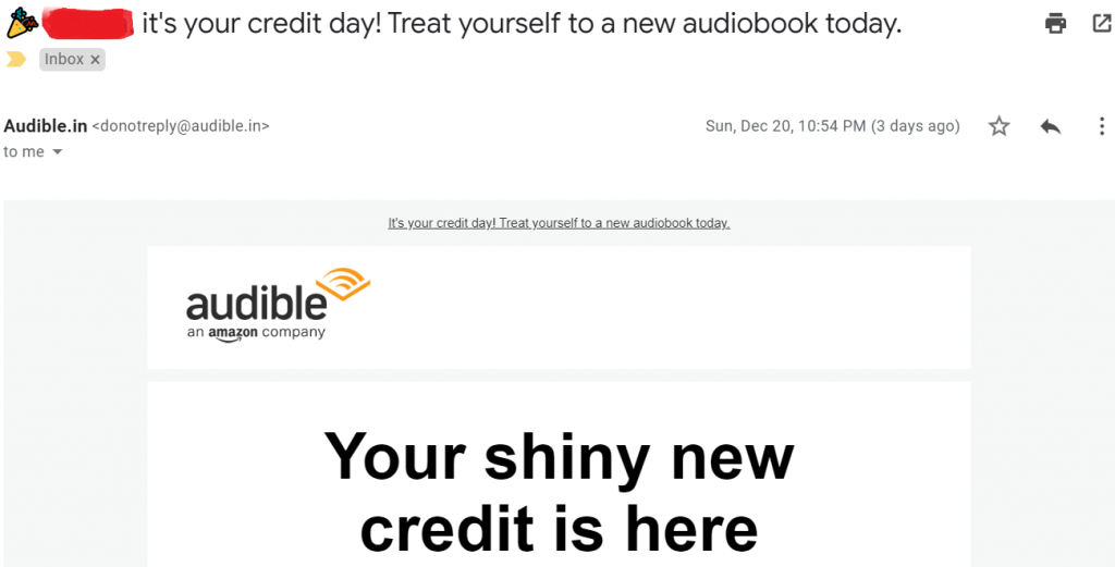Email personalization by Audible