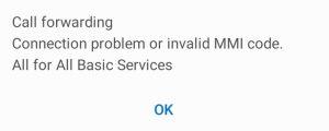 Call forwarding invalid MMI code