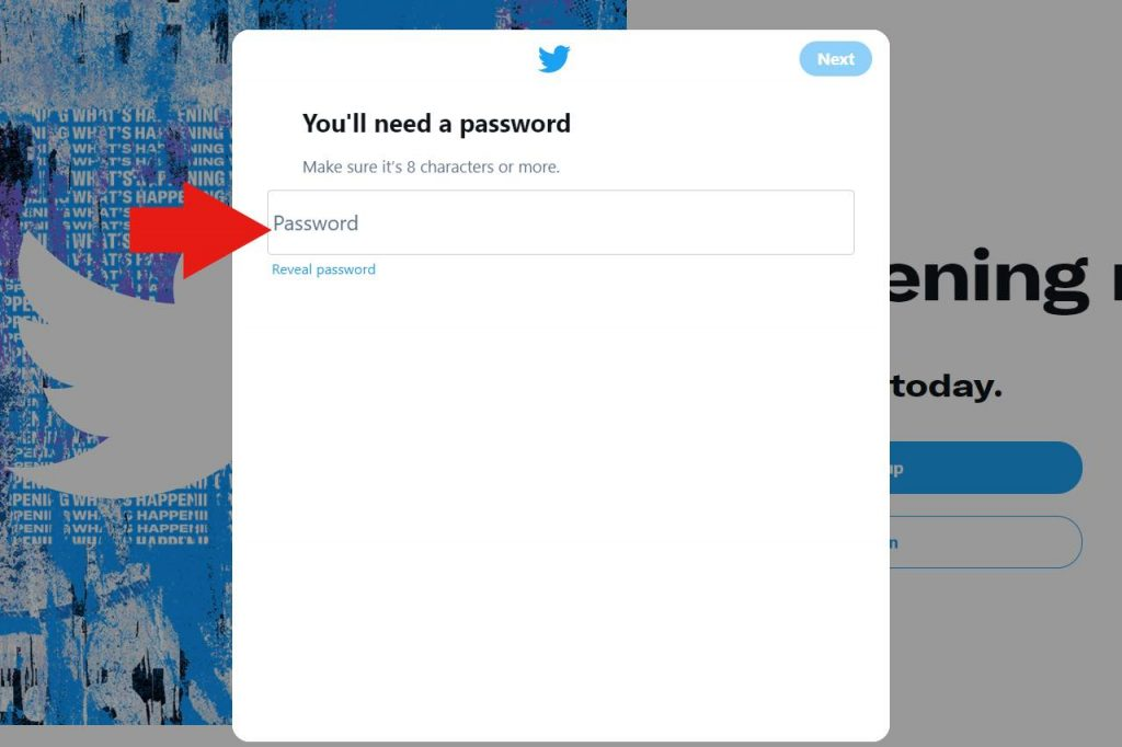 Set a Twitter account password