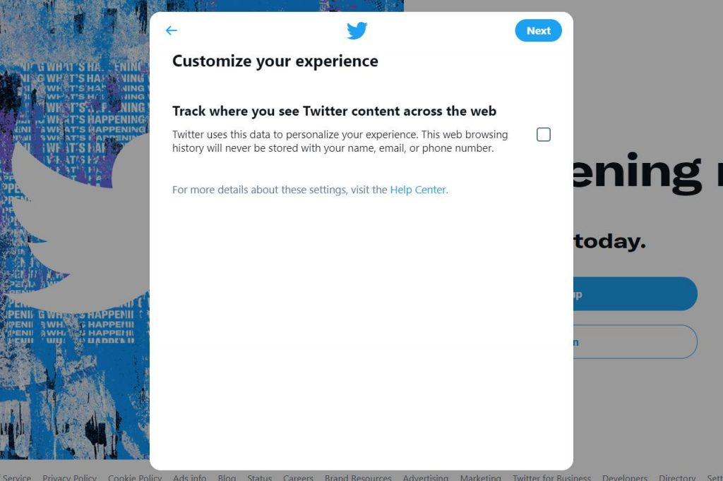 Twitter customize your experience