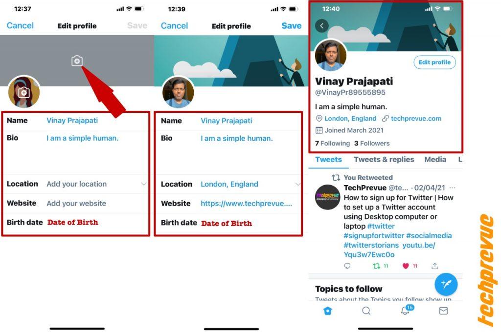 Twitter header, location and website