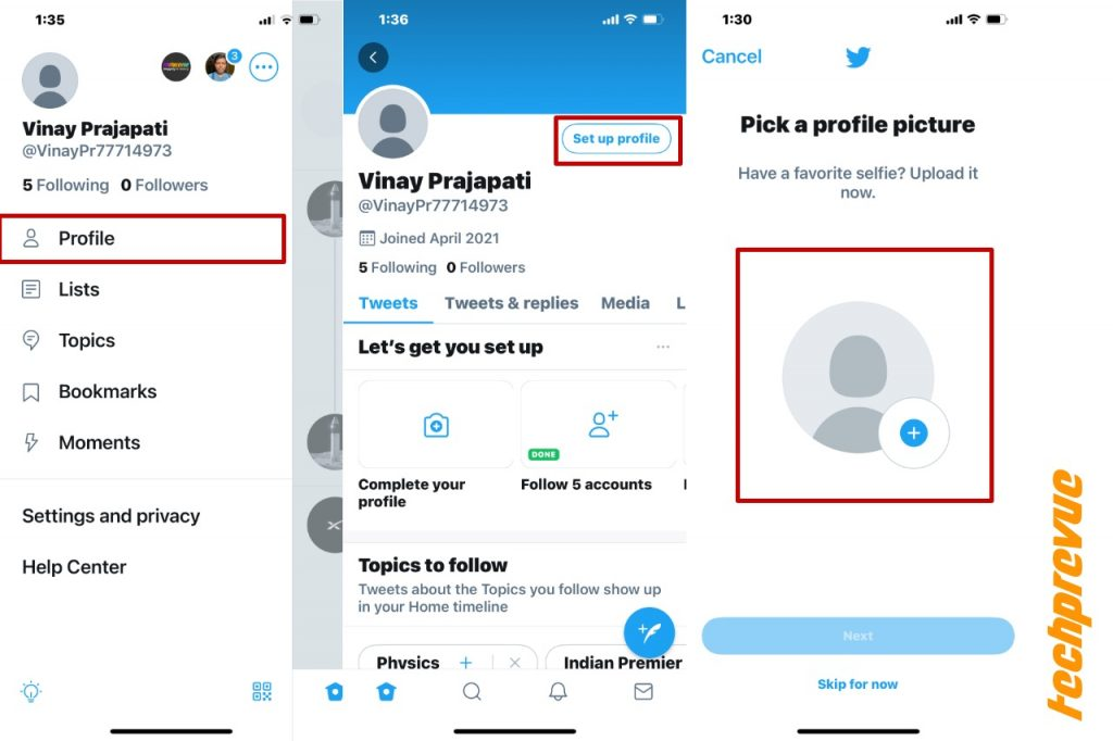Set up Twitter profile on iPhone