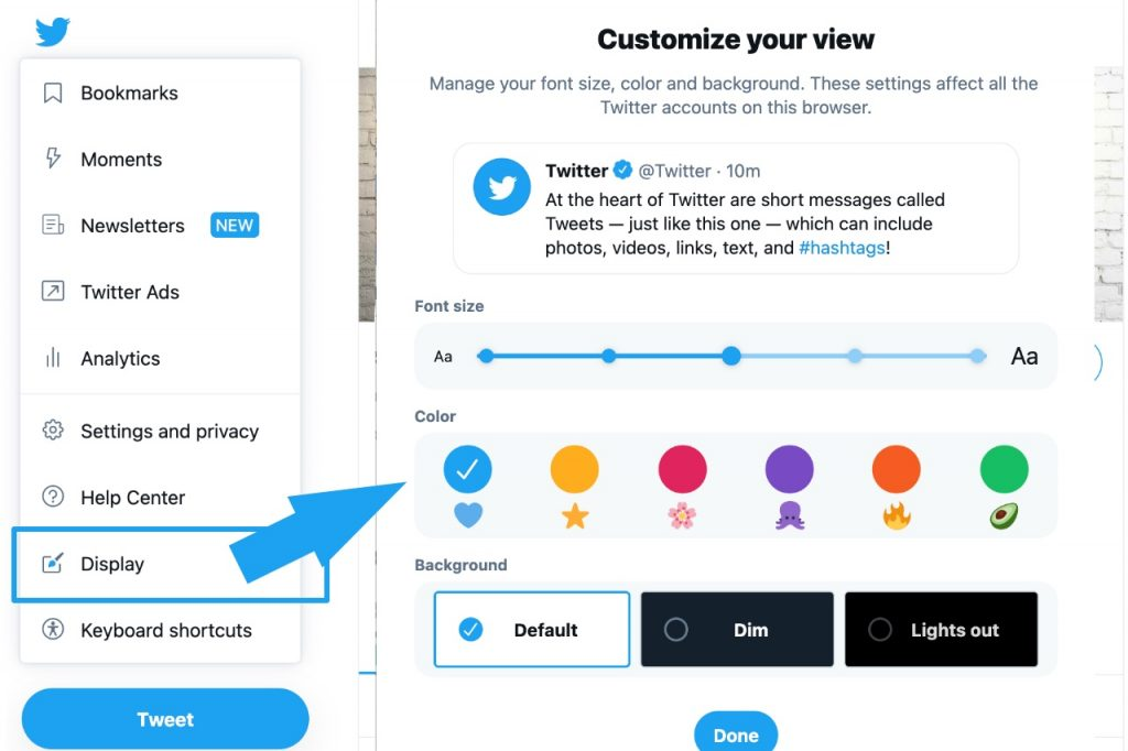 Change Twitter display