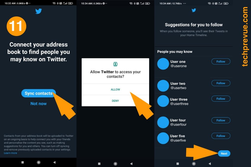 Twitter import contact step step 11