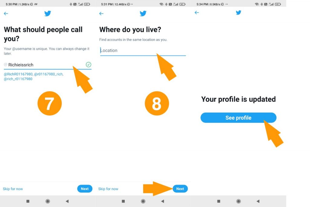 Twitter location and handle step 7 8