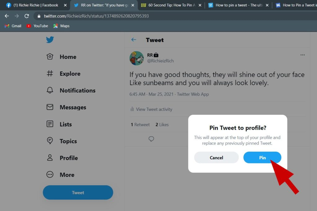 Pin tweet to your Twitter profile