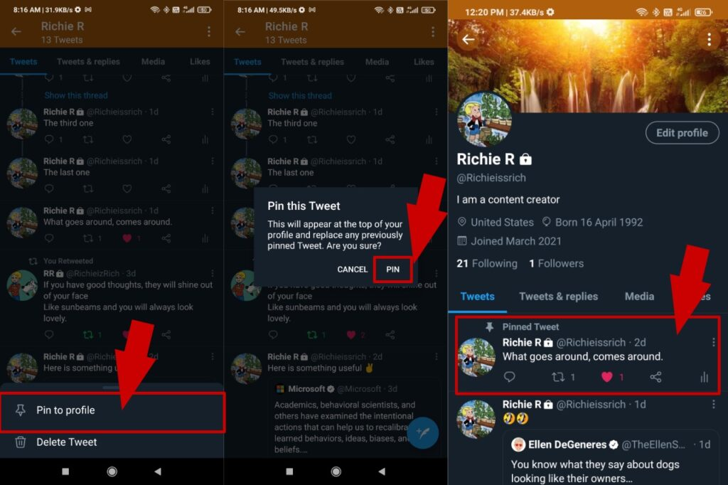 Pin tweet to twitter profile while using Android